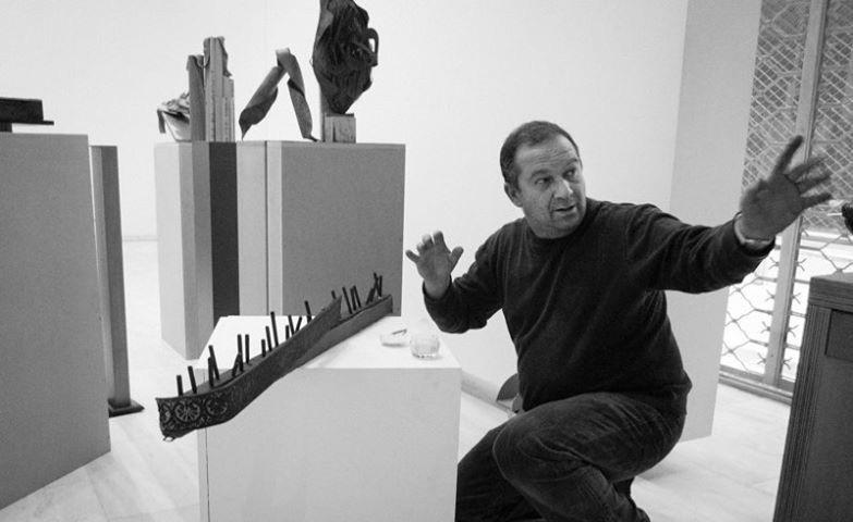 Kornelios Grammenos setting up the sculptura emfatica show, Athens, 2014