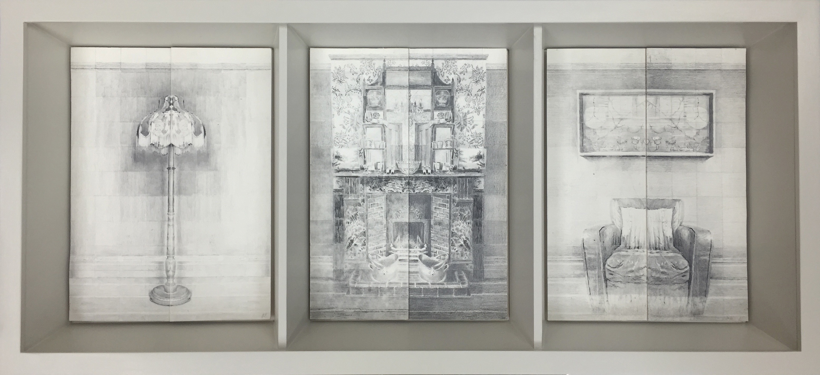 KROMA/Bella Easton, Myriorama Room Series, Lamp-fireplace-armchair, 2015, 80x37, graphite on velin arche