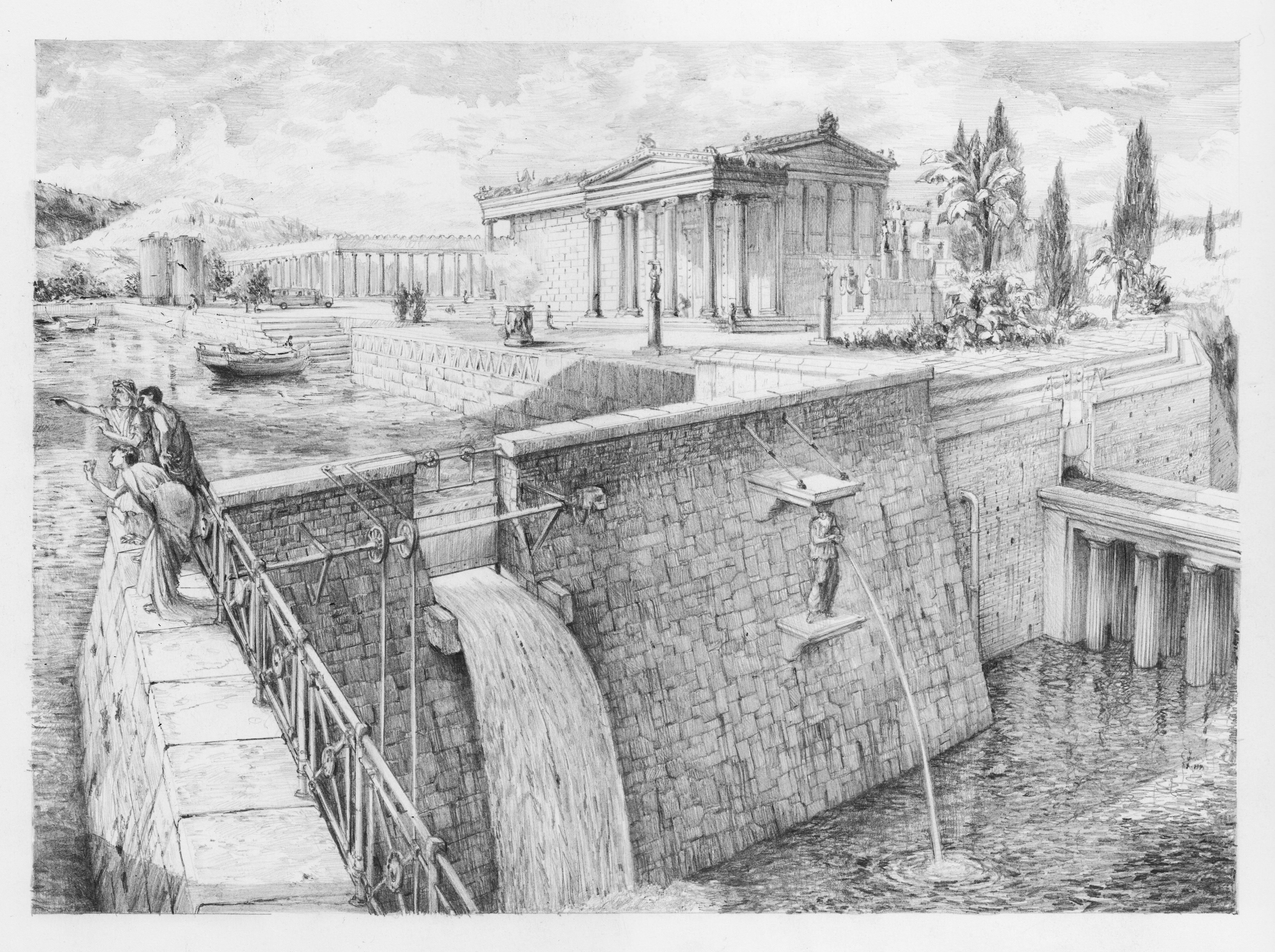 KROMA/Ioannis Savvidis, Hacking Truth About scapes series, Acropolis Water Reservoir, Fixed graphite on Hahnemühle paper, 22x31,5cm, 2017