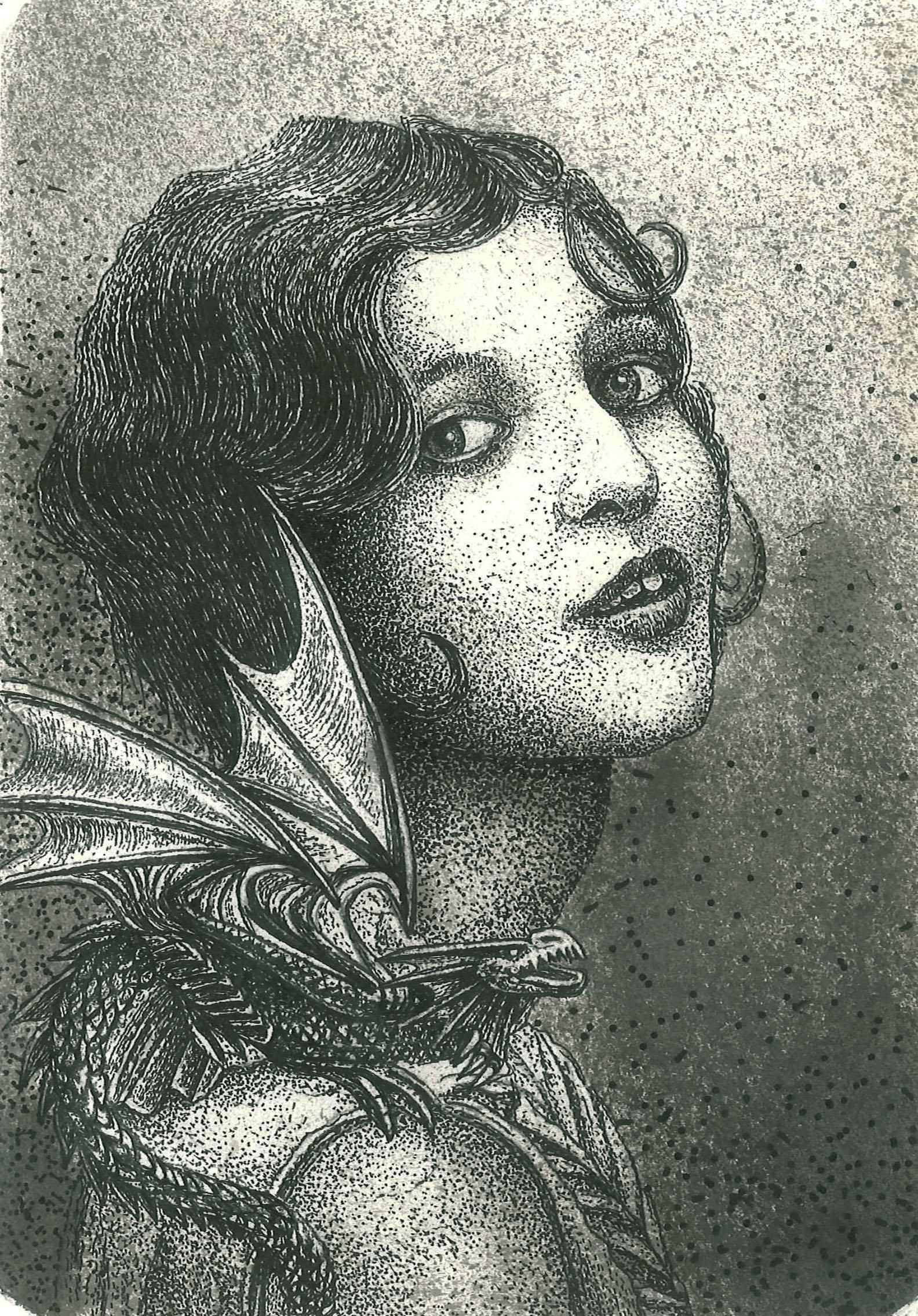 KROMA/Leonidas Giannakopoulos, Dragon girl, 2017, ink on paper, 20,5x14,7cm
