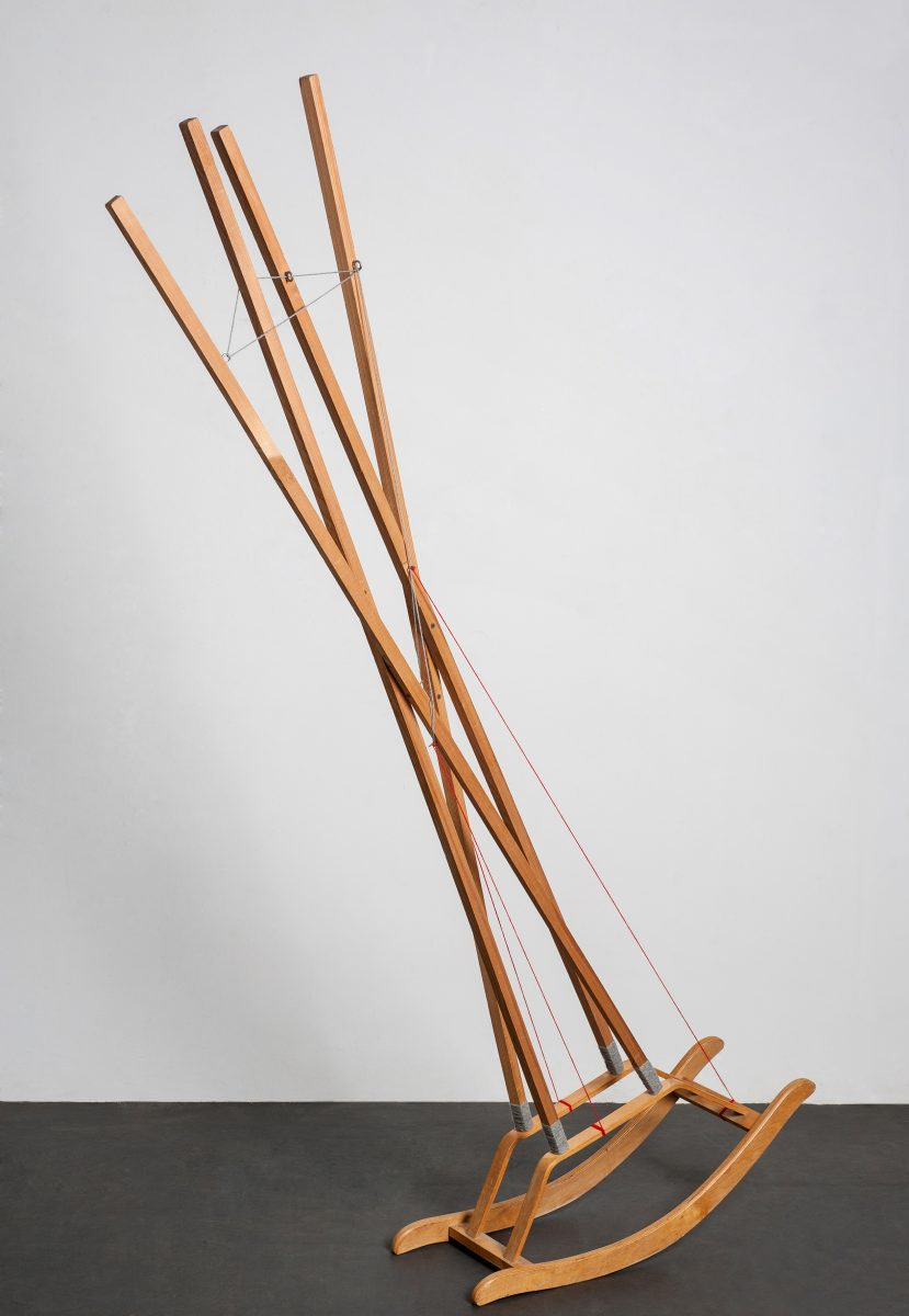KROMA/ 09. Mr Jazzman, wood, wool, stainless steel, h217X110X30cm, 2015