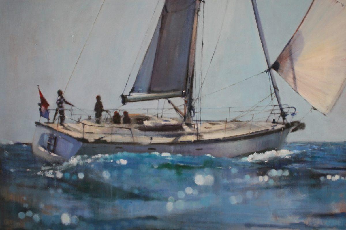 KROMA/Δημήτρης Κρέτσης, Dimitris Krestsis, Sailing Boat, Acrylics on canvas