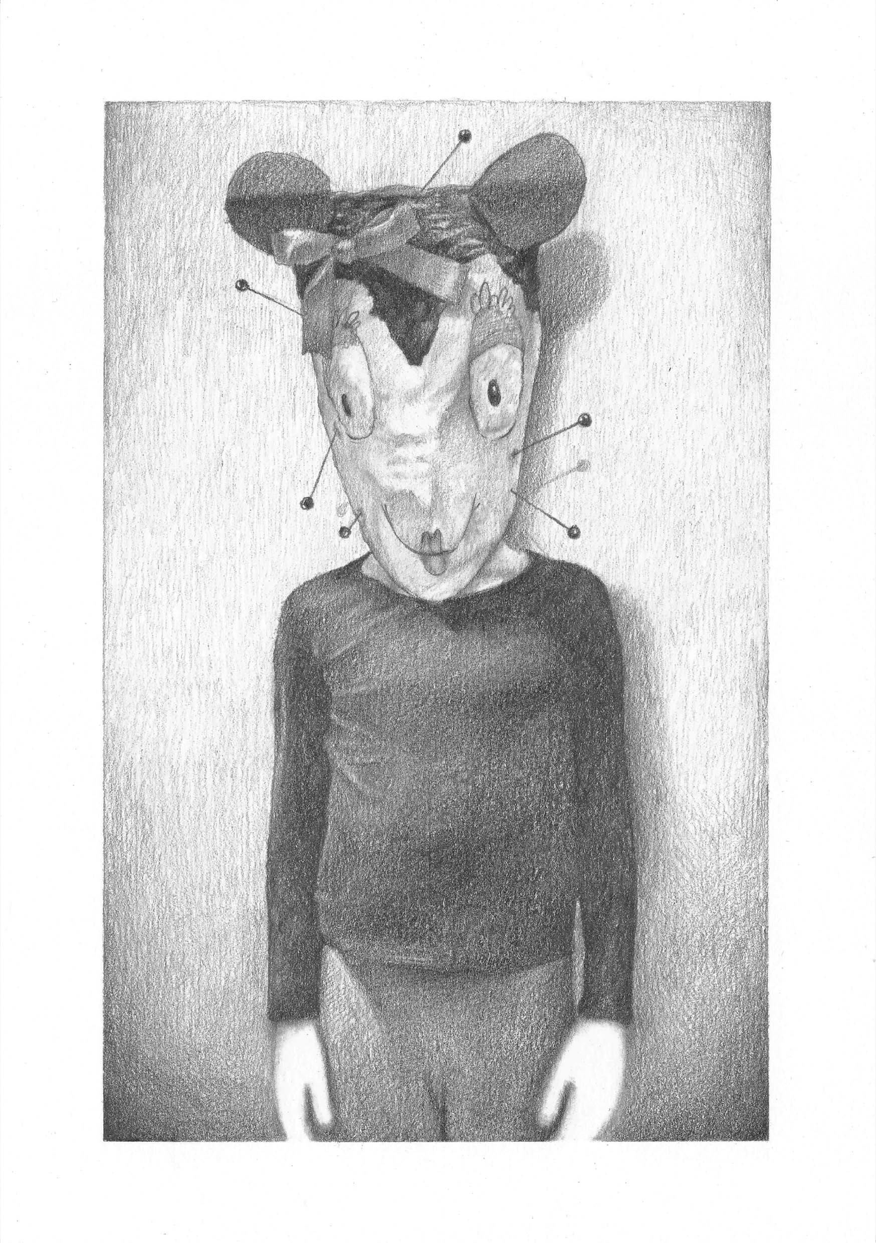 KROMA/ Vassilis Selimas, Anna behind the mask, pencil on paper, 2018