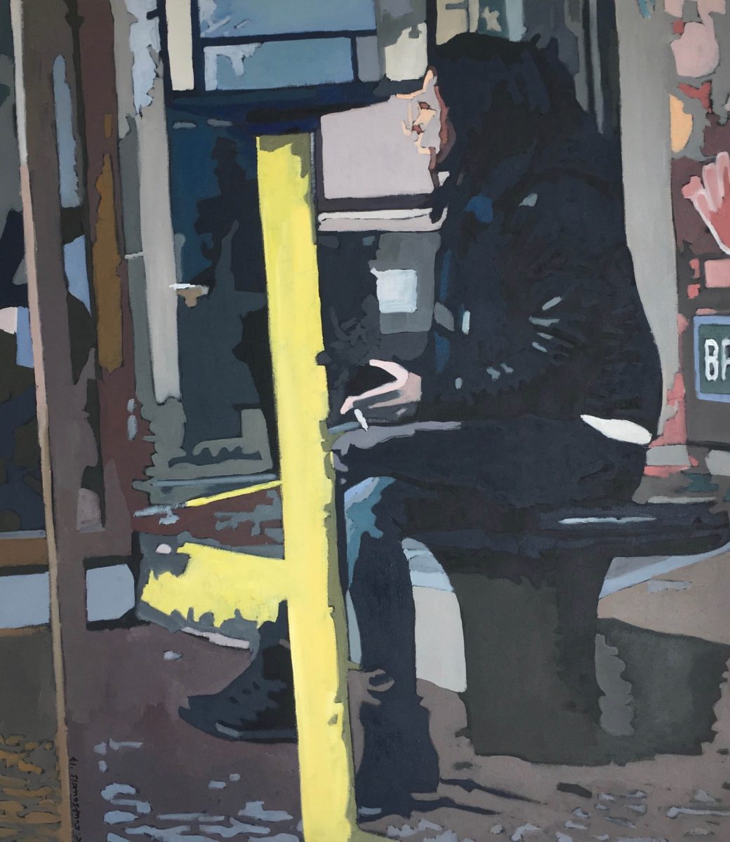 KROMA / Christos Koutsoukis / flux / The bus stop, 80 x 70 cm, Oil on canvas