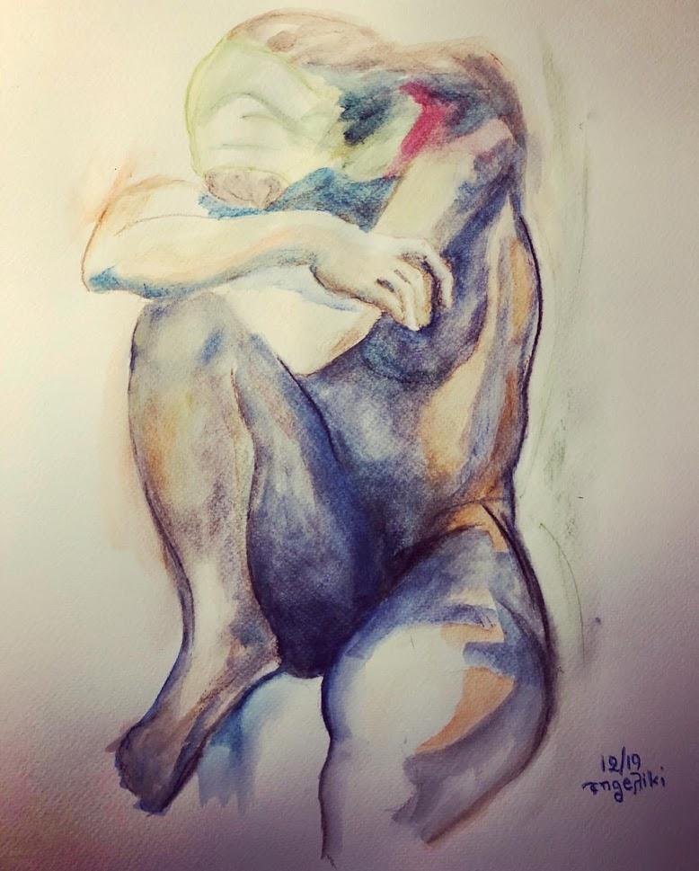 KROMA / Αγγελική Παπακωνσταντίνου, Γυναίκα, 30x40cm, Ακουαρέλα