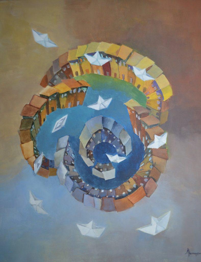 KROMA / Δώρα Κεντάρχου, Ο κόσμος όλος, ένα ταξίδι, 70x60cm, Ακρυλικά σε μουσαμά